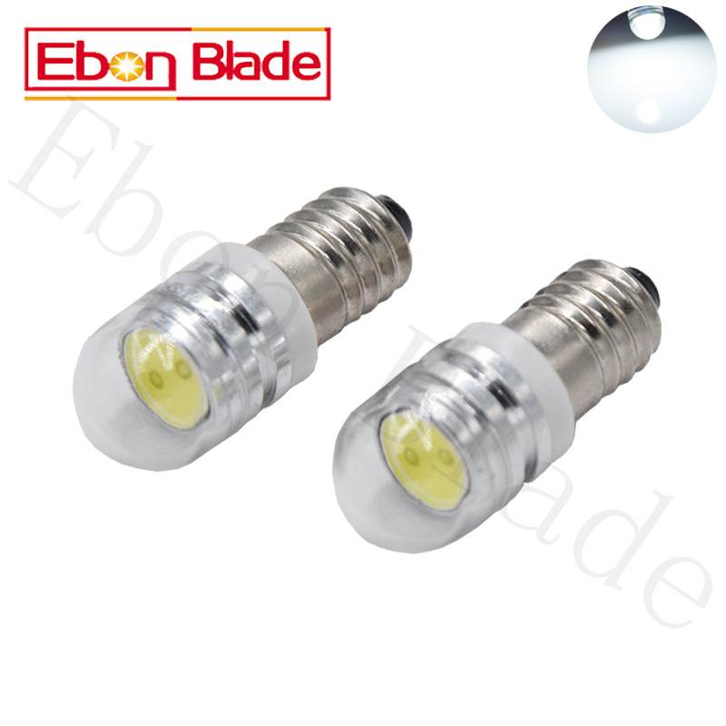 100Pcs E10 COB 2W Flashlight Bulb Emergency Light Bulbs 6V 12V 24V DC LED Replacement Flashlight Bulbs Torch Light Work Light