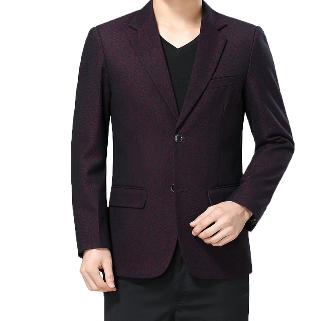 WAEOLSA Men Slim Fit Blazers Wine Red Navy Blue Suit Jackets Man Notched Collar Blazer Male Outfits Spring Autumn Costume Hombre