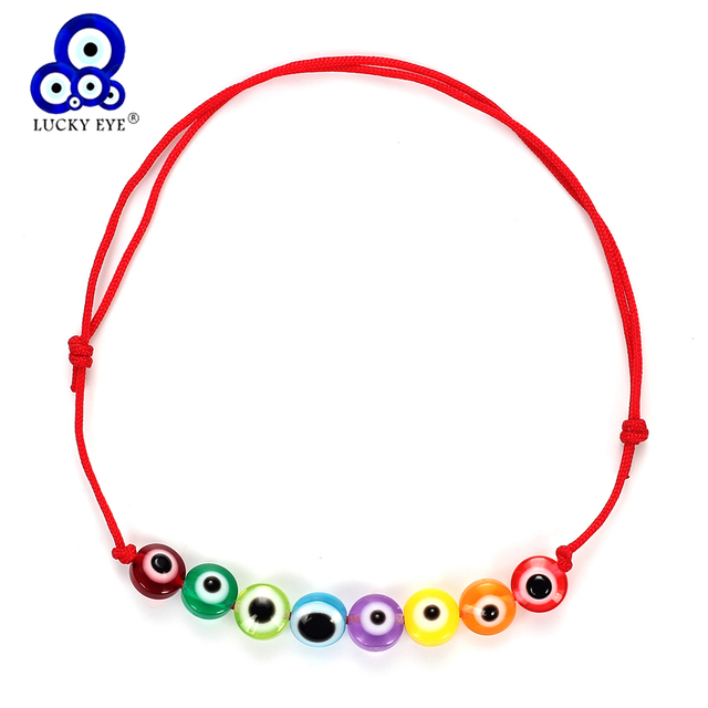 Lucky Eye Turkish Evil Eye Beaded Charm Bracelets For Women Colorful Handmade Braided Rope Red Bracelet Jewelry EY4990