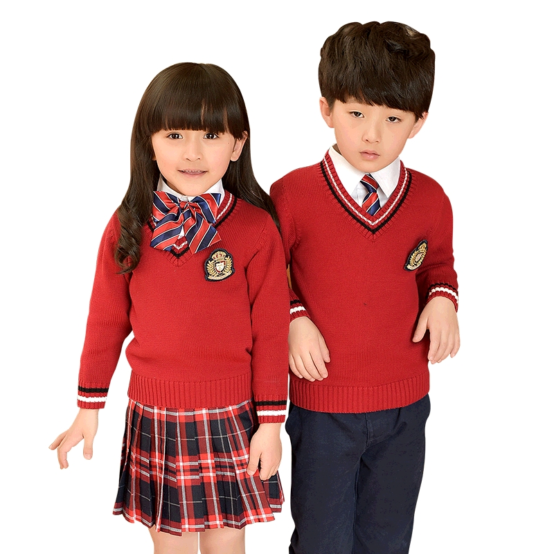 Children Unifroms 2018 Fashion Autumn Winter Clothes School Uniforms Plaid Skirt Cardigan Sweater Primary School Uniforms 2-10T dabuwawa 2017 vintage plaid vest skirt natural waisted elegant pencil button skirt autumn winter jumper skirt d17ddx018