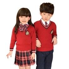 bdeb9b74c00c9 Niños uniformes 2018 moda Otoño Invierno ropa uniformes escolares a cuadros  suéter de La Rebeca de la falda uniformes de escuela.