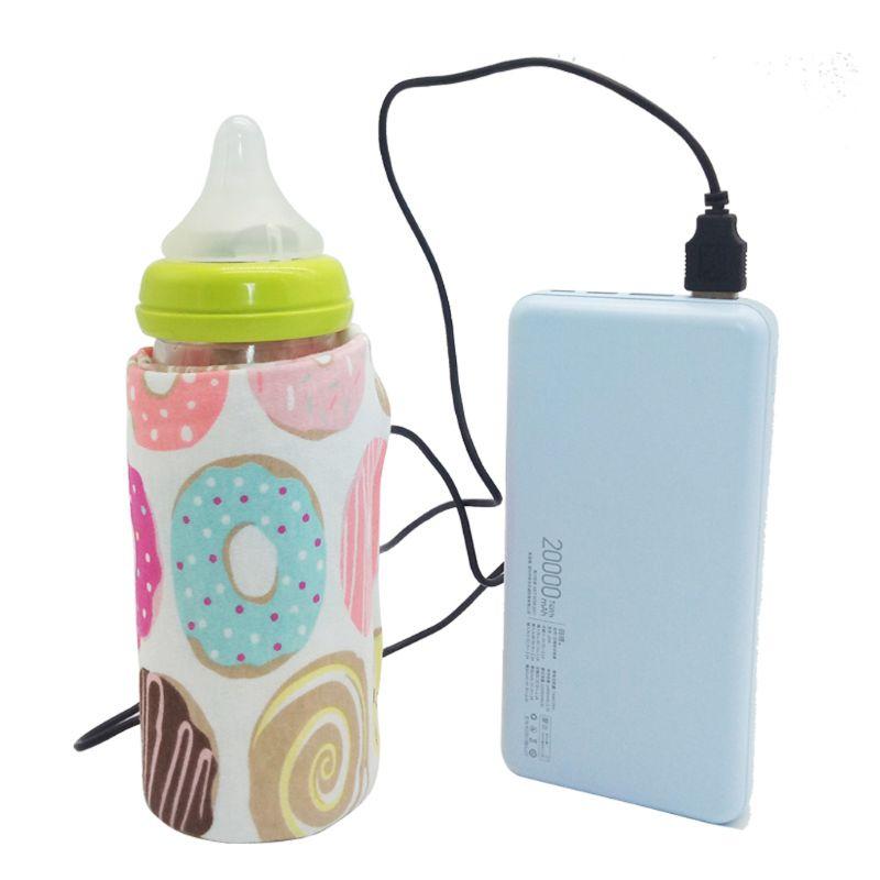 Travel Stroller USB Milk Water Warmer Insulated Bag Baby Nursing Bottle Heater 6 Colors