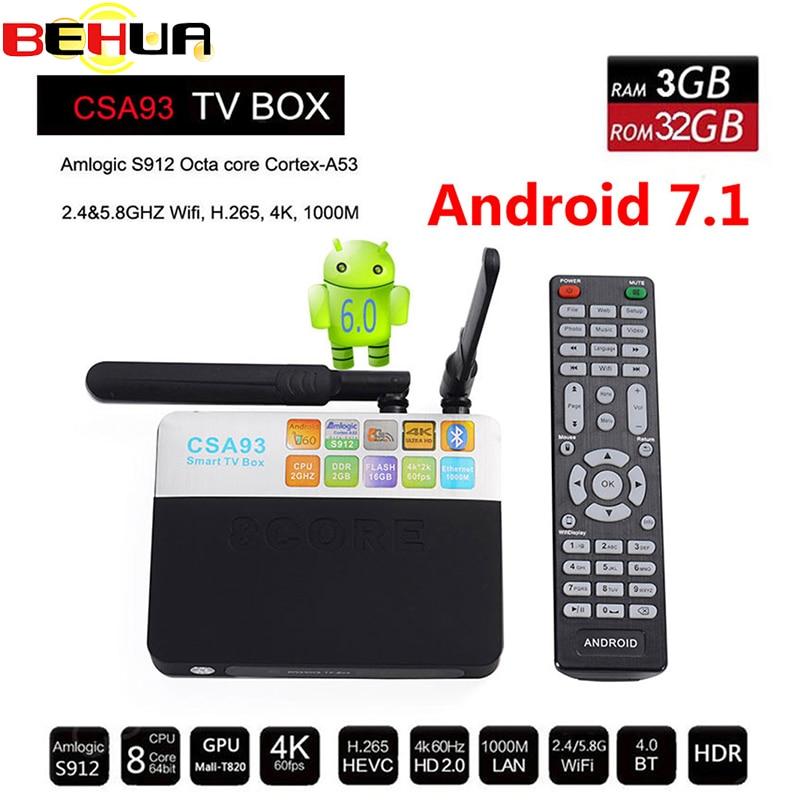 2018 CSA93 Android Smart 7.1 TV Box 3GB 32GB Amlogic S912 Octa Core Wifi BT4.0 2.4G/5.8G Bluetooth 4K 1000M LAN 17.3 Set Top Box 3gb ram 32gb rom android 7 1 tv box csa93 amlogic s912 octa core 2gb 16gb wifi bt4 0 4k 1000m lan streaming smart media player