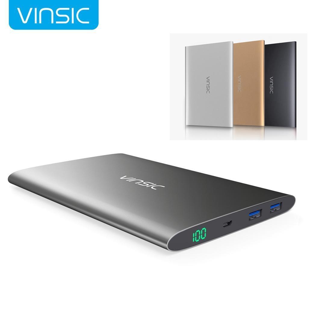 15000 mAh Portable batterie externe double Ports USB Mobile batterie externe affichage numérique appauvrbank pour iPhone Xiaomi gris or