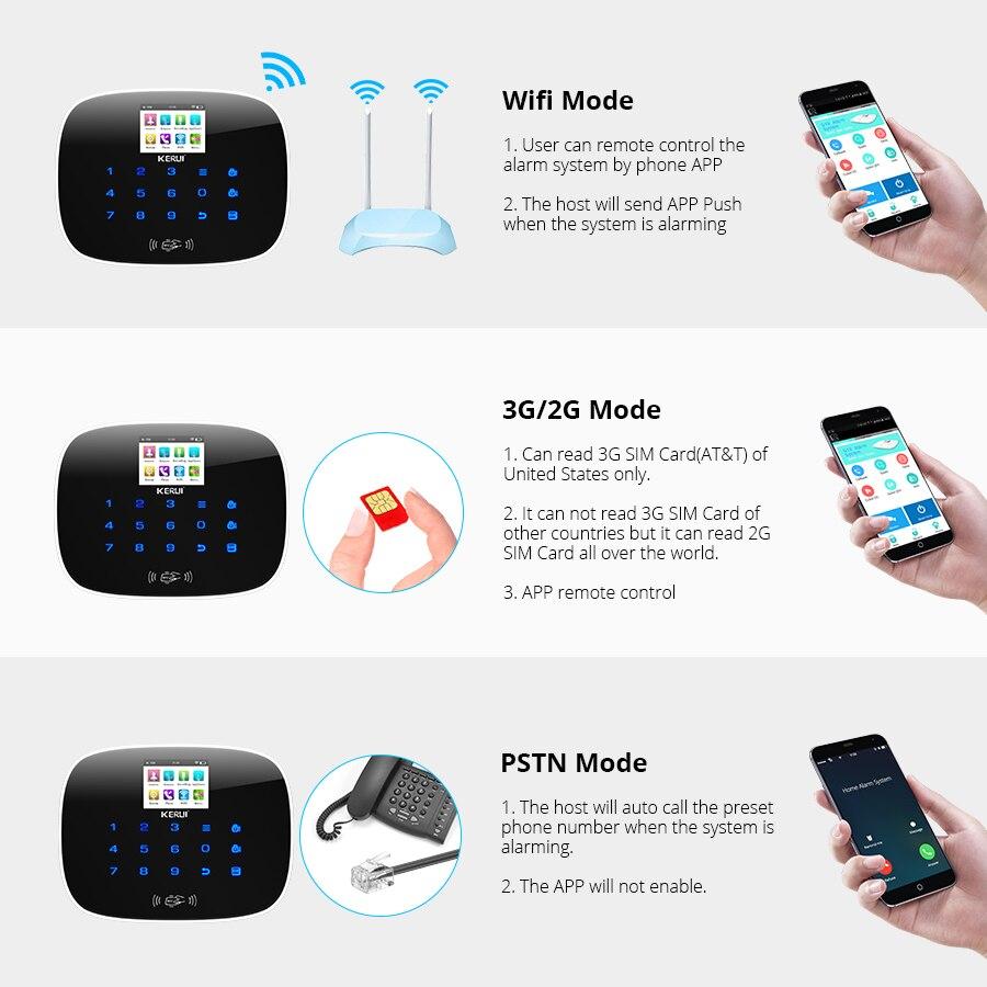 Image 4 - KERUI 3G WiFi GSM Security Alarm System PSTN RFID IOS Android APP Control Wireless Smart Home Burglar Alarm Sensor Alarm DIY kit-in Alarm System Kits from Security & Protection