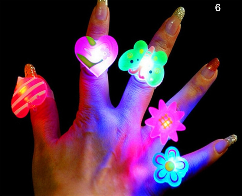 Christmas Halloween Baby Fun Toys Gifts  Kids Cartoon LED Flashing Light Up Glowing Finger Ring Electronic For Children 5 PCS
