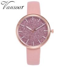 Бренд Vansvar Роскошные шикарные часы женские кожаные женские тонкие часы браслет Женские кварцевые наручные часы