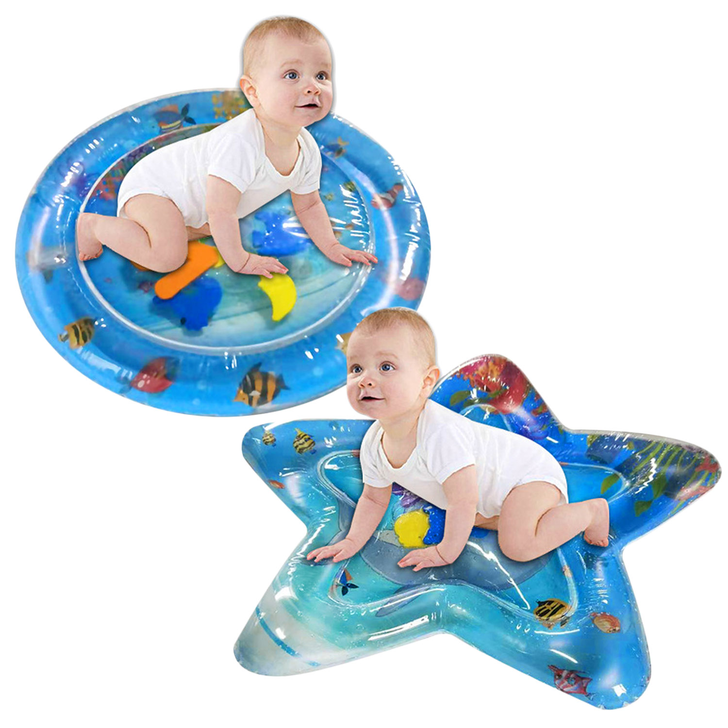 Baby Crawling Water Mats Inflatable Tummy Time Water Playmat Mat Fun Activity Play Center For Kids Play Pad Swimming Beach Games