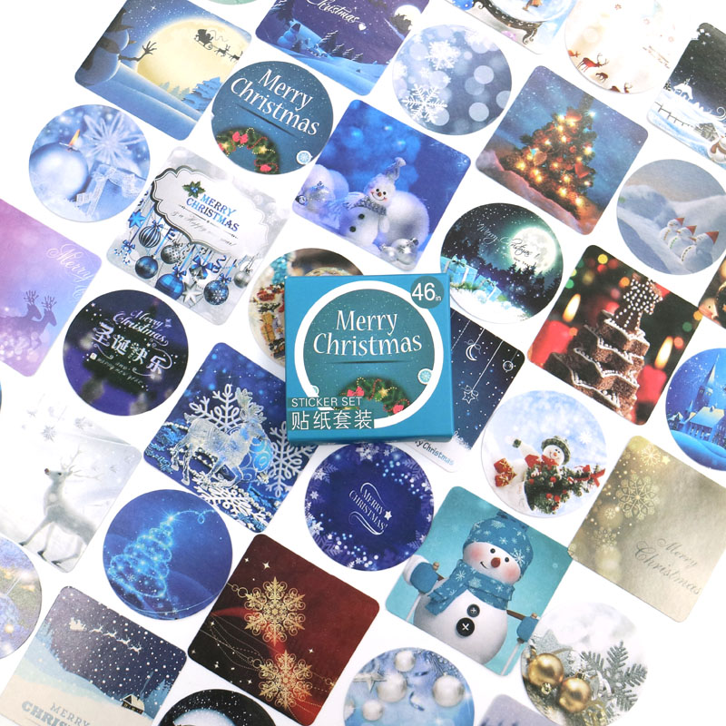Merry Christmas Stickers Travel Decorative Stationery Stickers Ocean whale sticker Scrapbooking DIY Diary Album Lable 46pcs/box
