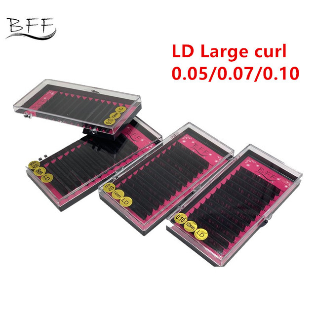 BFF Marka 4 kutu Kirpik uzatma 0.05/0.07/0.10 LD Büyük kıvırmak yapay Sahte Yanlış Göz Kirpik Bireysel kirpik