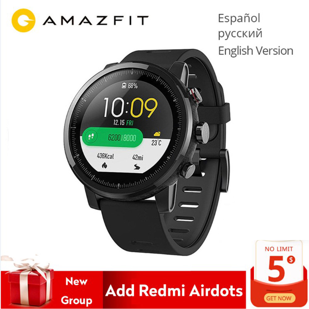 Globale Version Original Xiaomi Huami Amazfit Stratos 2 Smart Uhr Sport GPS 5ATM Wasser 2.5D GPS Firstbeat Schwimmen Smartwatch