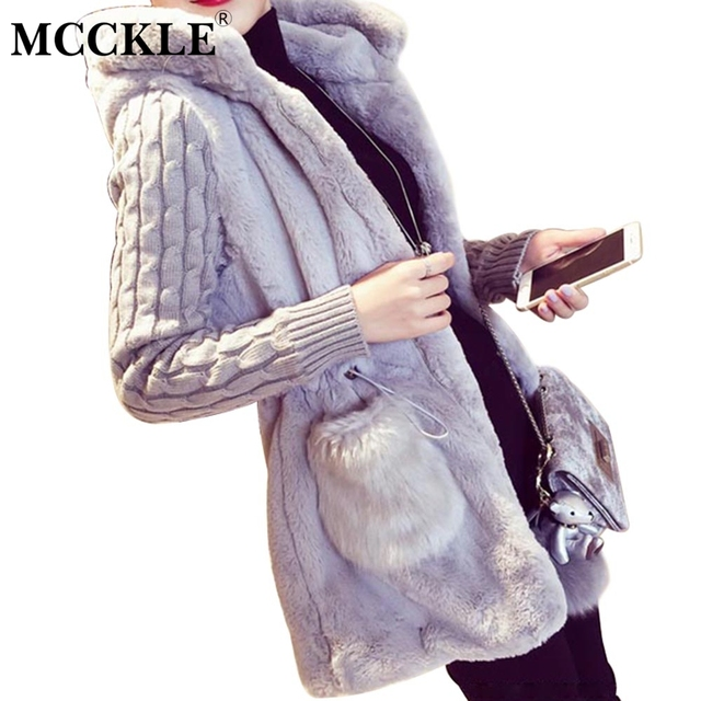 MCCKLE Women's Faux Fur Warm Hooded Jackets Knitted Long Sleeve Patchwork Cardigans Fashion Women Casuals Coat Wear