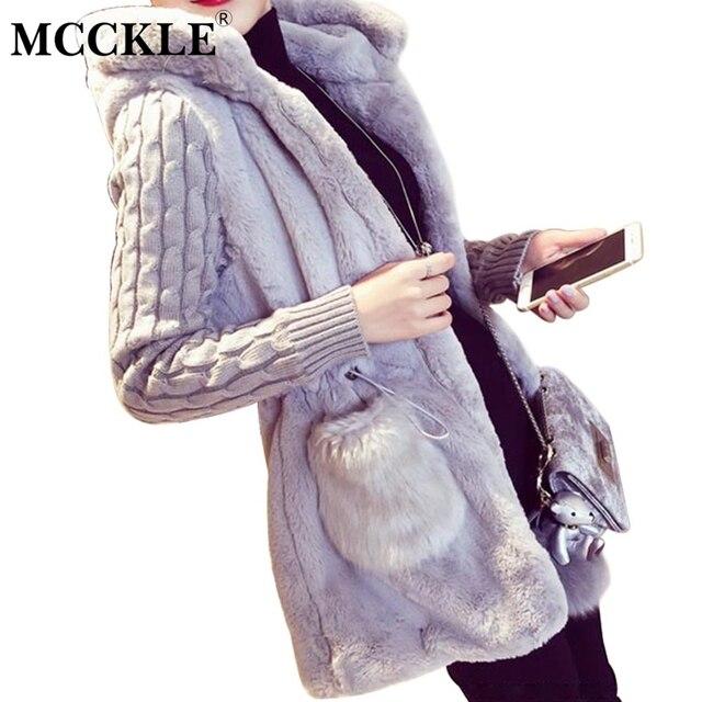 Mcckle quente com capuz da pele do falso das mulheres casacos de malha de manga comprida patchwork cardigans mulheres da moda desgaste casaco casuais