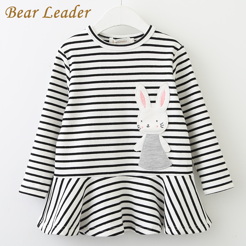 Bear Leader Girls Dress 2018 New Autumn Kids Clothes Long Sleeve O-neck Striped Bunny Rabbit Appliques Design for Girls Dresses ol style v neck long sleeve striped spliced women s bodycon dress