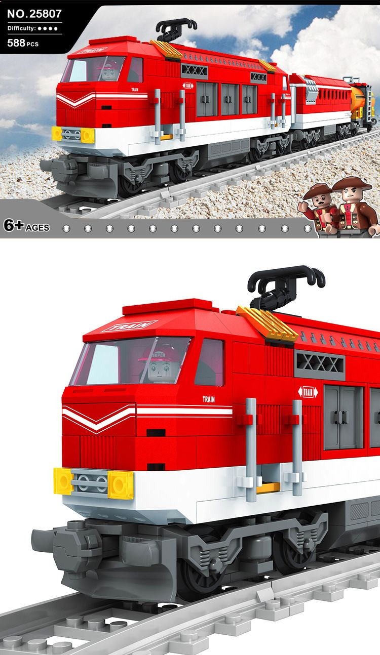 Model building kits compatible with lego train traffic rails 333 3D blocks Educational model building toys hobbies for children ausini model building kits compatible with lego city transportation train 1025 3d blocks educational toys hobbies for children
