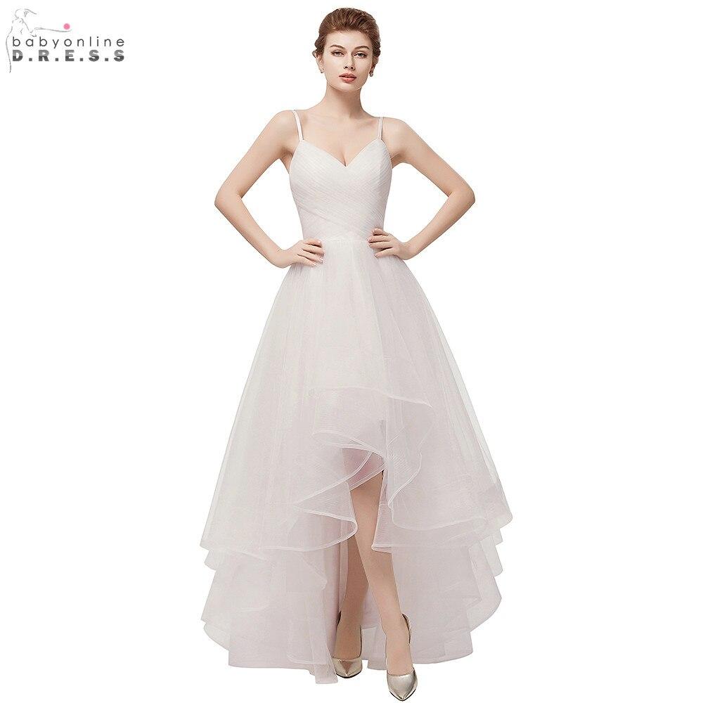 Simple Low Key Wedding Dresses: Simple Summer High Low Tulle Wedding Dresses 2018
