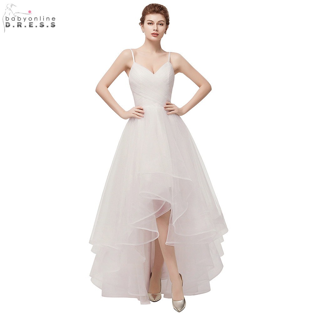 Simple Summer High-Low Tulle Wedding Dresses 2019 Spaghetti Strap Wedding Gowns 2 Colors Available Bridal Dress Vestido de Noiva