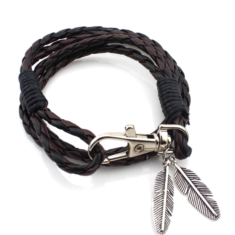 2017 NEW Retro fashion Caribbean Ocean series Feather bracelet PU multi-layer weaving Bracelet Free shipping Black brown red