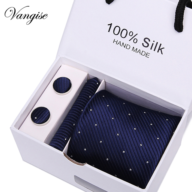 Vangise Novelty Box Set Tie Sets Men 39 s Classic Silk ties Handkerchief Cufflinks Gift Box Striped amp Plaid Necktie For Wedding Party in Men 39 s Ties amp Handkerchiefs from Apparel Accessories