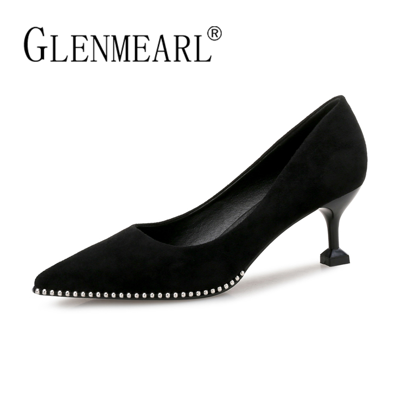 Genuine Leather Black Shoes Women High Heels Brand Woman Pumps Concise String Bead Thin Heels Dress Shoes Female Pointed Toe 45 bigtree office lady dress shoes women high heels pointed toe solid string bead sandals concise slingback shoes stilettos 34 40