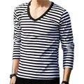 Navy style long-sleeve shirt male T-shirt V-neck stripe t shirt male shirt navy vintage basic shirt 100% cotton t-shirt