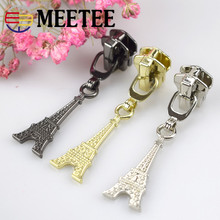 10CS 3# 5# DIY Eiffel Tower shape  metal zipper pull head for bag,clothes, luggage, shoes