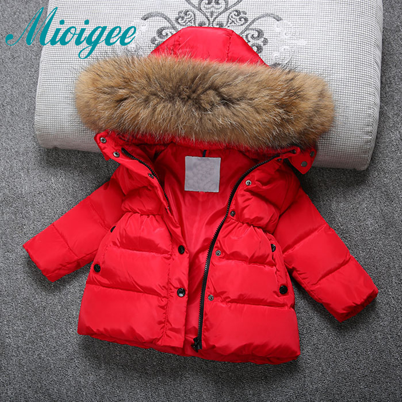 Mioigee Kids Winter Jackets For Girls 2017 New Kids Duck Down Jackets Children Fur Hooded Jackets Girl Snowsuit Kids Outerwear mioigee 2017 children winter coat baby white duck down jackets real fur hooded warm winter kids clothes girls outerwear jackets