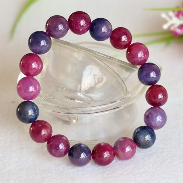 Top Grade Quality Genuine Multi Color Red Blue Purple Ruby Bracelet Smooth Round beads Finished Stretch Bracelets 11mm 04391