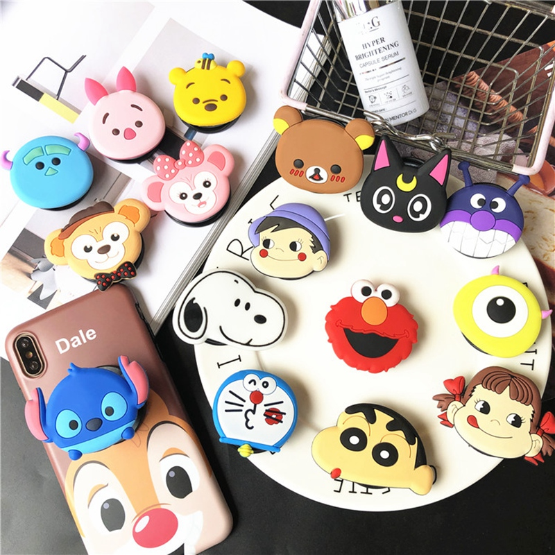 Air Bag Cell Phone Bracket Cartoon Disneys Stitch Winnie Pooh Dog Phone Stand Finger Holder For IPhone XR Samsung S10 Universal
