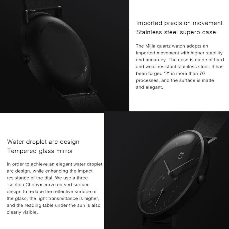 Original Xiaomi Mijia relojes de cuarzo impermeable doble Dial con alarma deporte Sensor BLE4.0 conexión inalámbrica inteligente Mi casa APP - 4