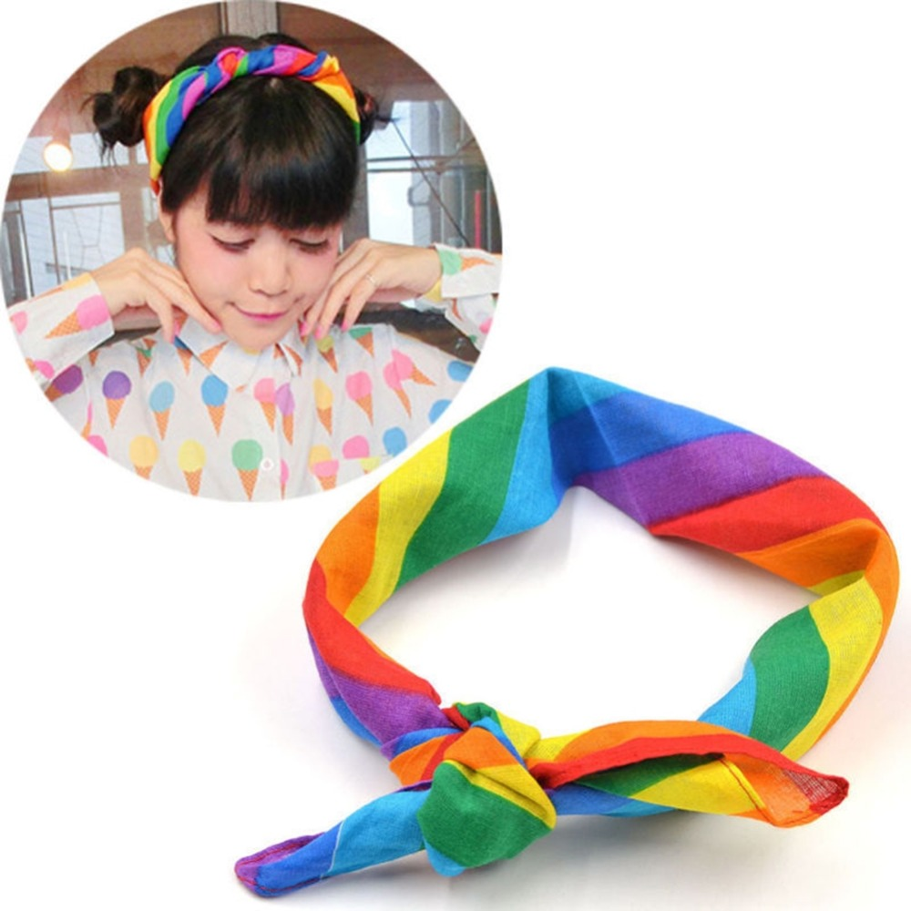 Stylish 55*55cm Small Square Scarf Cotton Rainbow Stripe Headband Gay Pride Face Mask Neck Scarf Headwear For Women Accessories(China)
