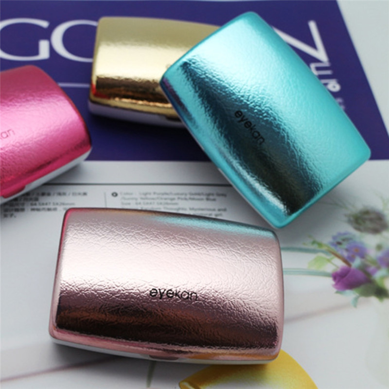 Vintage Reflective Cover Contact Lens Case With Mirror Lenses Cases Container Travel Kit Box Women Delicate Accessories