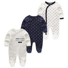 2020 yaz yeni stil uzun kollu kız bebek Romper pamuk 3 adet/takım yenidoğan giyisi bebek pijama erkek hayvan maymun tulum