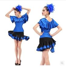 The new Short sleeve suit square dance skirts Latin dance clothing suits Latin dance practice clothes sexy fashion show 5073