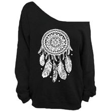 Black Sweatshirts Harajuku With Elephant Printed For Women