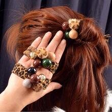 Женские леопардовые эластичные повязки для волос резинки хвоста