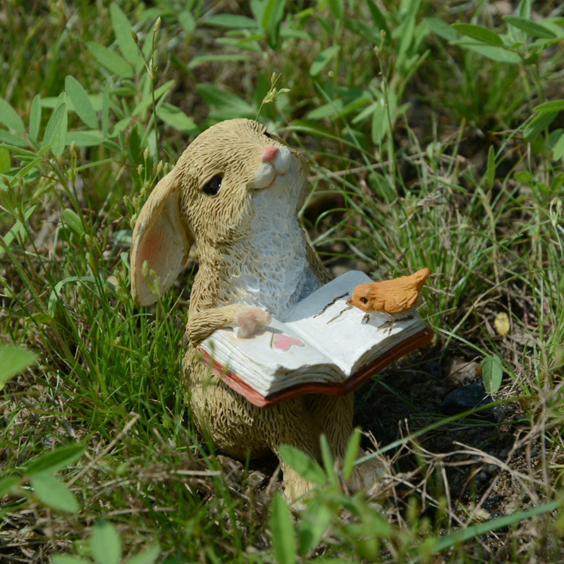 Cute Bunny Rabbit Statue Collection Decoration Ornament Country Style Garden Landscape Ornament Creative Funny Birthday Gift ...