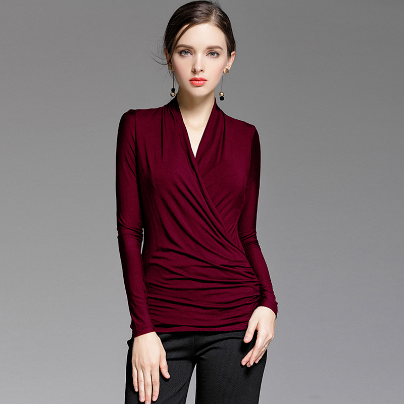Blouse Women Basic Clothing Criss Cross V Neck High Waist Solid Long Sleeves 3 Colours Casual
