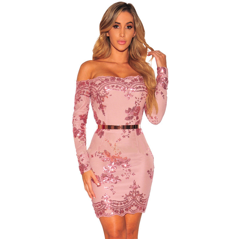 Women Pink Floral Sequin Dress <font><b>2018</b></font> Spring <font><b>Elegant</b></font> Long Sleeve <font><b>Off</b></font> <font><b>Shoulder</b></font> Luxury <font><b>Party</b></font> <font><b>Club</b></font> Wear <font><b>Sexy</b></font> <font><b>Bodycon</b></font> Dress Vestidos image
