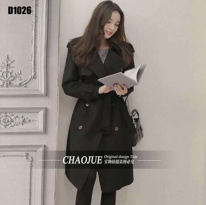 Black cashmere coats womens overcoat loose woolen coat women s outerwear long
