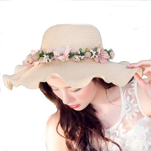 Surblue женская Широкими Полями Шапки Sun Пляжа Лета Соломенные Шляпы большой Элегантный цветок Колпачок Для Женщин девушки Путешествия УФ Вс защита