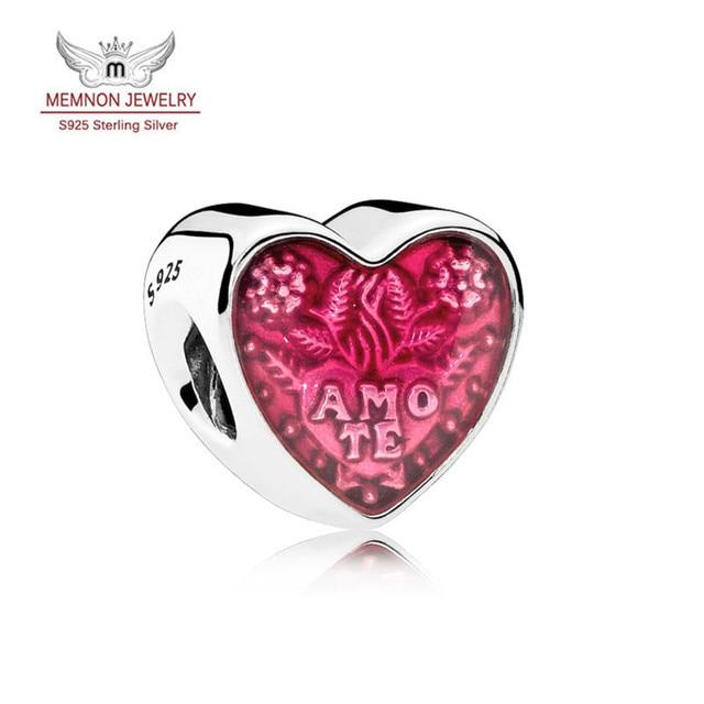4e3b7e5b1982 2017 Día de San Valentín del corazón del encanto de Plata Esterlina 925  joyería fina Latina