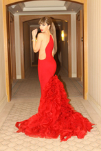 Sarahbridal Myriam Fares Celebrity Dresses Red 2015 Hot Sale Sexy See through Mermaid Carpet Party With Long Ruffles