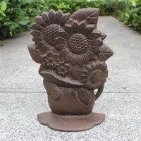 Винтажная ветка подсолнечника в вазе дизайн из литого железа, дверной стопор
