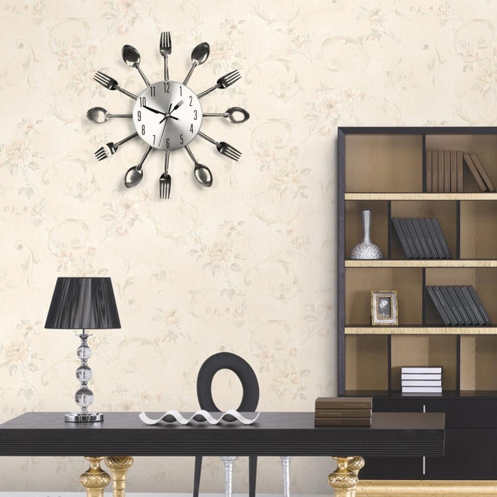 Fashion Modern Design Cool Sliver Cutlery Kitchen Utensil Wall Clock Home Decor Spoon Fork Clock