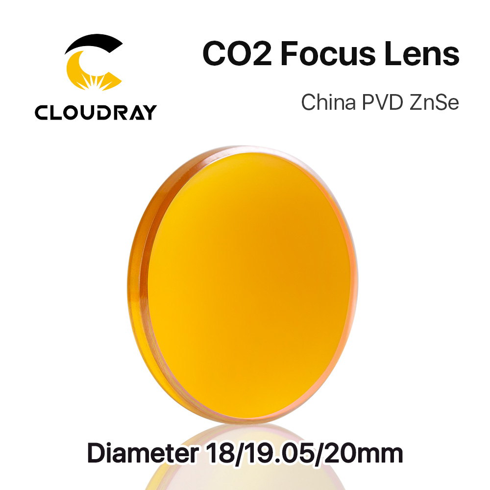 "Cloudray China CO2 ZnSe Focus Lens Dia.18 19.05 20 mm FL38.1 50.8 63.5 101.6 127mm 1.5 - 4 ""för lasergraveringsmaskin"