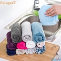 Saingace 10PCs High Efficient Anti-grease Color Dish Cloth Bamboo Fiber Washing Towel Magic Kitchen Cleaning Wiping Rags Gifts