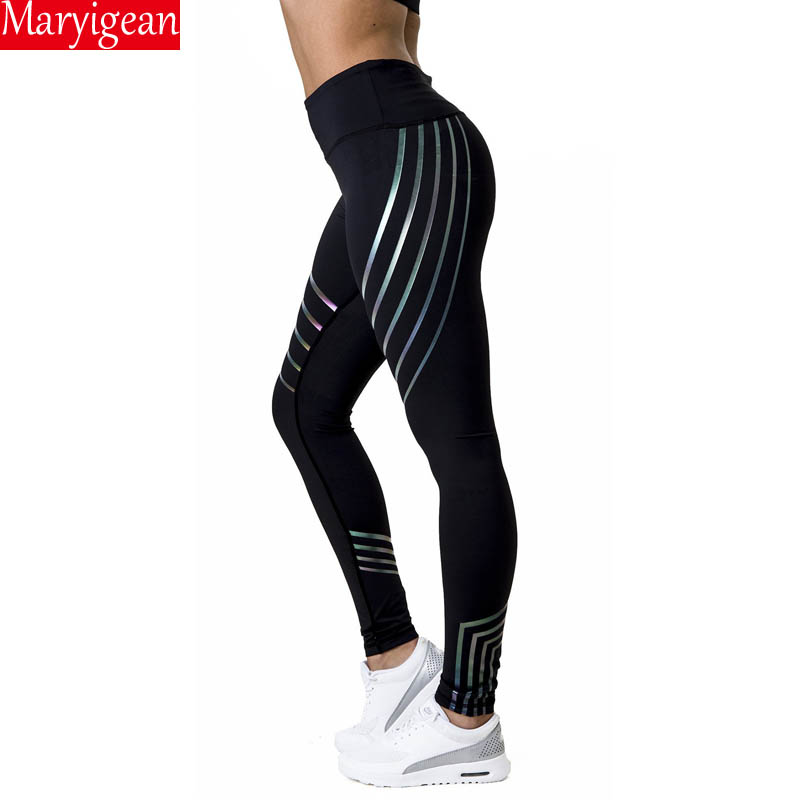 Maryigean Fitness Leggings Women Slim High Waist Elasticity Leggings Printing leggins Woman Reflective Legging Plus Size Pant