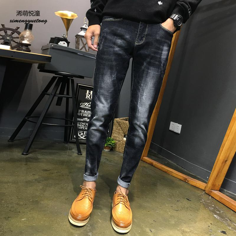 2018 spring and summer new Slim thin jeans men, street trend stretch cat water to wash casual feet pants jeans men