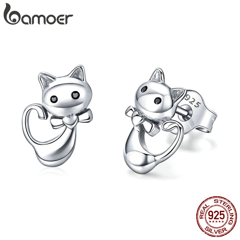 BAMOER Cat Collection 925 Sterling Silver Sticky Cat Animal Small Stud Earrings for Women Fashion Sterling Silver Jewelry SCE450 купить в Москве 2019